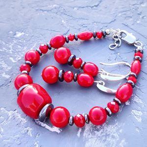Jewelry sets Комплект з натуральних коралів та гематиту браслет і срібні сережки
