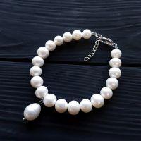 Браслет з натуральних білих перлів високого класу