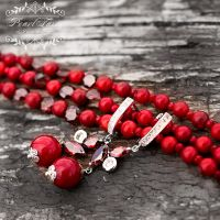 Комплект натуральные кораллы и кристаллы браслет и серьги