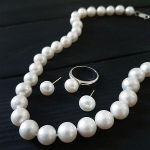 Комплект прикрасу сріблі з натуральними перлами