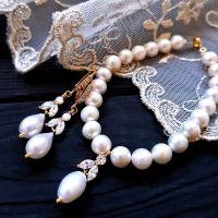 Комплект з натуральних перлів високого класу у позолоті