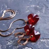 Комплект з кристалами Swarovski серце у позолоті