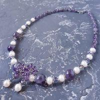 Комплект з натуральних перлів та аметистів намисто сережки