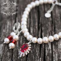 Браслет з натуральних перлів з підвіскою, срібною застібкою