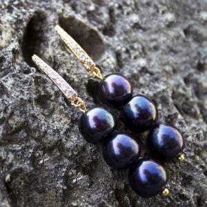 Cережки з чорними перлами Позолочені сережки з розкішними натуральними чорними перлами