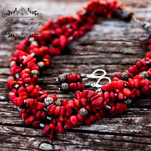 Комплект: натуральные кораллы пятирядные ожерелье и серьги