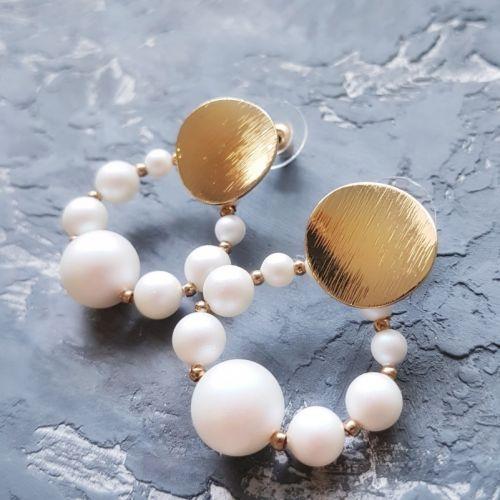 """Сережки з Swarovski перлами """"Вісімка"""" подарунок на 8 березня"""