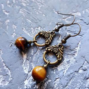 Earrings Сережки з натуральними каменем тигряче око