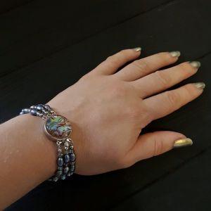 Браслети з кришталю Браслет з натуральних перлів та перламутру Пауа трьохрядний