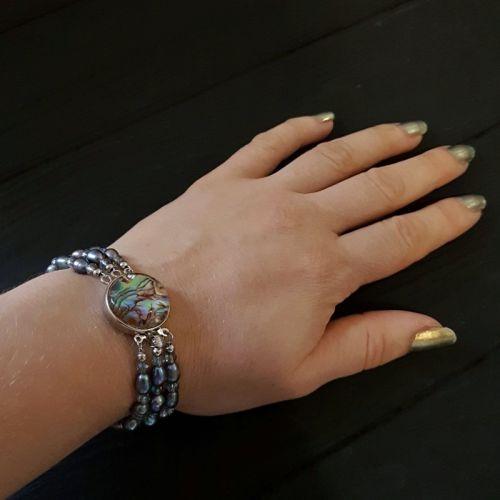 Браслет з натуральних перлів та перламутру Пауа трьохрядний