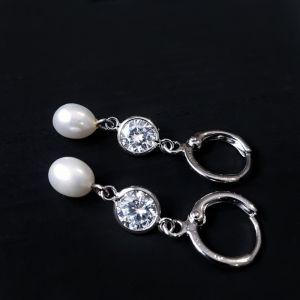 Прикраси ручної роботи Сережки з натуральними перлами та кристалами циркону