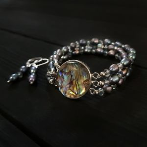 Комплект з натуральних перлів та перламутру Пауа браслет сережки