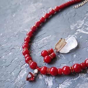 Jewelry sets Комплект з натуральних коралів кольє і сережки з кристалами