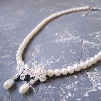 Комплект натуральні перли намисто сережки