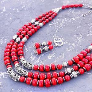 Гармаш Олена Комплект з натуральних коралів та гематиту намисто і сережки зі срібними застібками