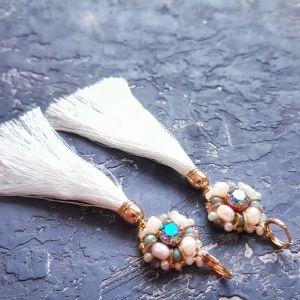 Серьги с хрусталем Позолоченные серьги с кристаллами Swarovski  и натуральным жемчугом