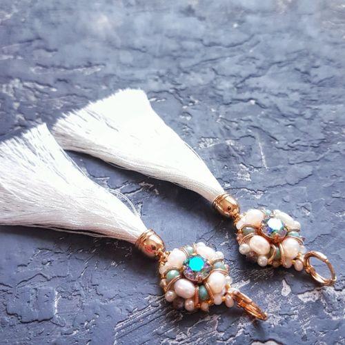 Позолоченные серьги с кристаллами Swarovski  и натуральным жемчугом