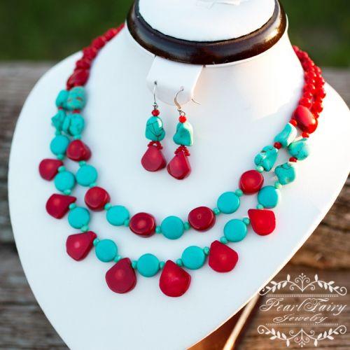 Ожерелье из натуральных кораллов и бирюзы двустрочный