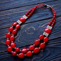 Ожерелье двухрядное из кораллов под вышиванку