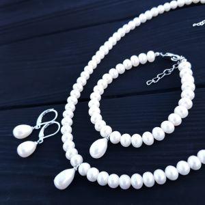 Комплект з натуральних перлів святковий весільний