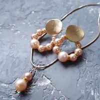 Комплект з перлів натуральних та Swarovsli сережки і кулон