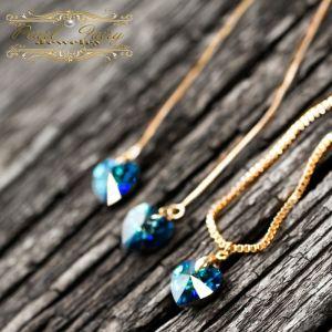 Комплект украшений кристаллы Swarovski сердце в позолоте