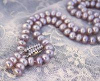Серебро и натуральный жемчуг лавандовый комплект