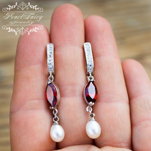 Сережки натуральні перли і кристали циркону мед сталь