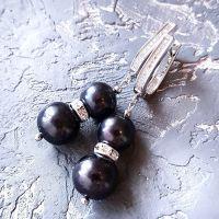 Натуральный черный жемчуг серьги с кристаллами