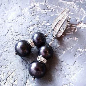 Акції Натуральні чорні перли високого класу сережки з кристалами