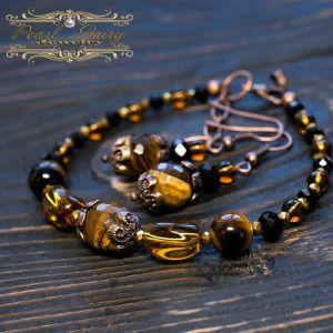 Браслеты ручной работы Комплект натуральный камень тигриных глаз браслет серьги