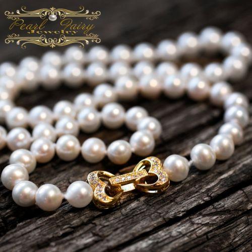 Кольє з позолоченою застібкою 2 серця натуральні перли