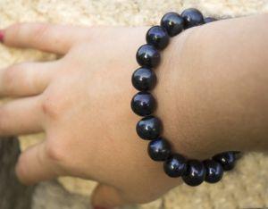 Браслет великі натуральні чорні перли