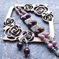 Весняна колекція комплект з браслету та сережок зі срібними застібками