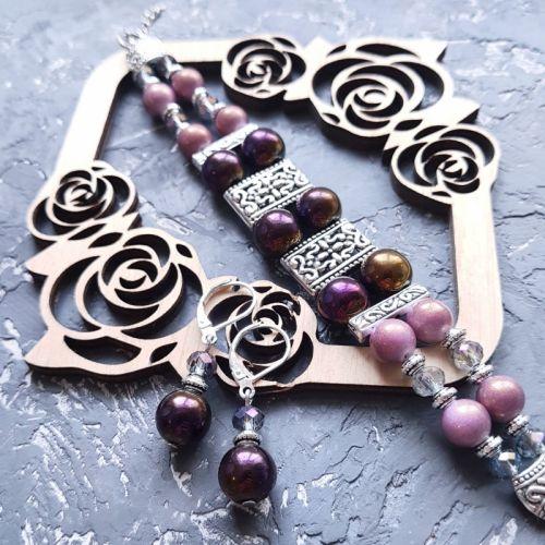 Весенняя коллекция комплект из браслета и сережек с серебряными швензами