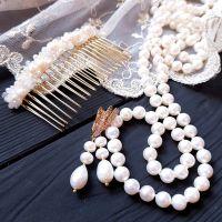 Комплект свадебный натуральный жемчуг и кристаллы