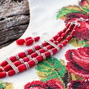 Комплект натуральні корали браслет і срібні сережки