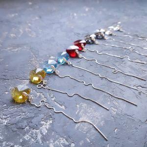 Гармаш Елена Серебряные серьги с кристаллами Swarovski сердце