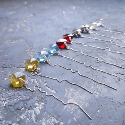 Серебряные серьги с кристаллами Swarovski сердце