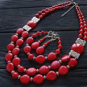 Комплект прикрас намисто, браслет і сережки з коралів