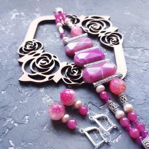 Jewelry Весняна колекція комплект з натуральних агатів та перлів