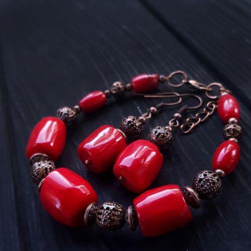 Комплект браслет и серьги натуральные кораллы