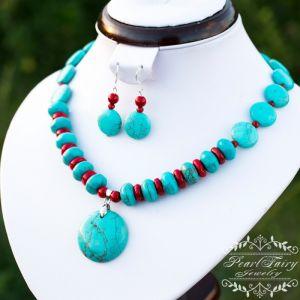 Комплект бирюза и натуральные кораллы ожерелье серьги