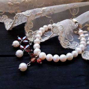 Комплект из натурального жемчуга высокого класса с кристаллами