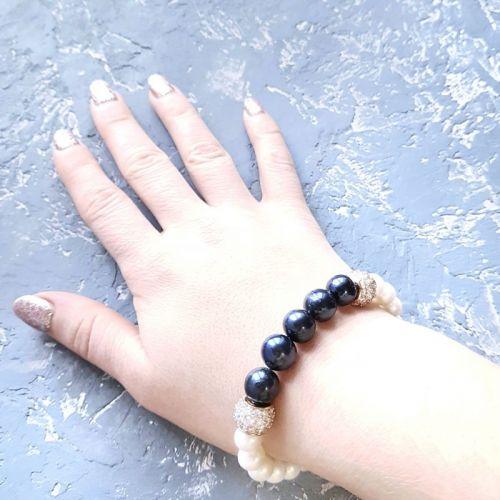 Браслет з натуральних перлів та кристалів циркону - зображення 1