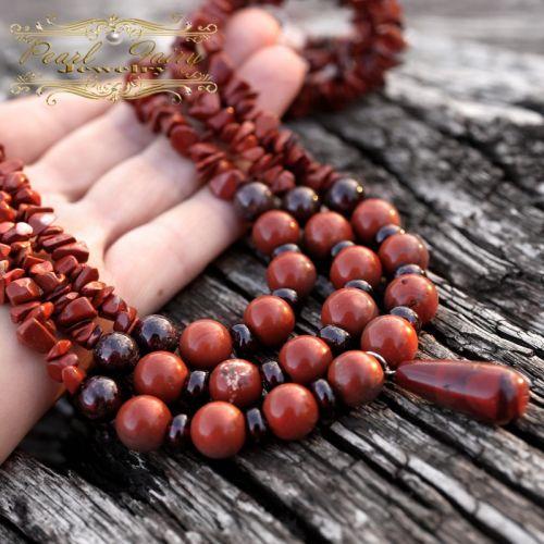 Ожерелье из натуральной яшмы и граната трехрядное