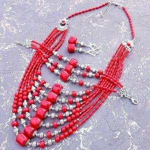 Гармаш Олена Комплект з натуральних коралів намисто браслет сережки