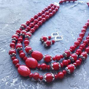 Гармаш Олена Комплект намисто та сережки з червоними коралами