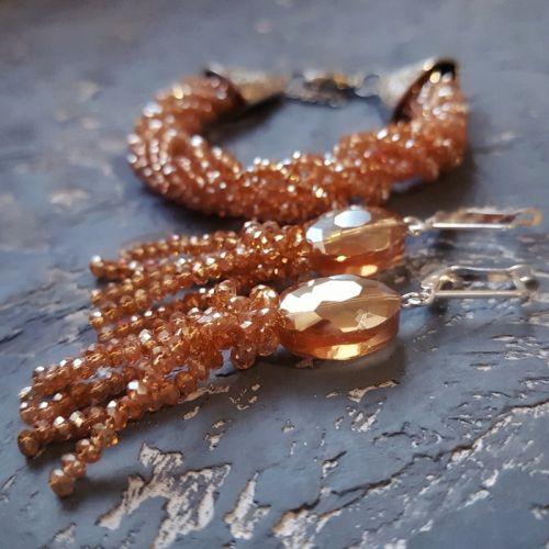 Комплект прикрас сережки та браслет з кристалів