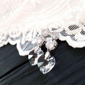 Сережки з серцями Swarovski та цирконами